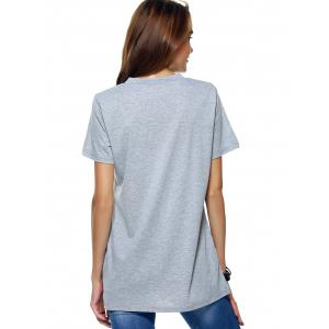 V Neck Letter Print Long T-Shirt -