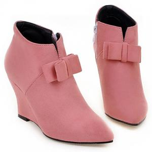 Pointed Toe Bow Wedge Ankle Boots -