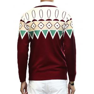 Zigzag Geometric Pattern Round Neck Long Sleeve Sweater For Men - WINE RED 2XL
