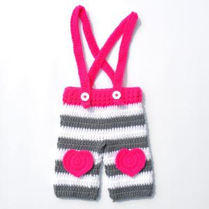Long Tail Hat Overalls Crochet Clothes Set For Baby -