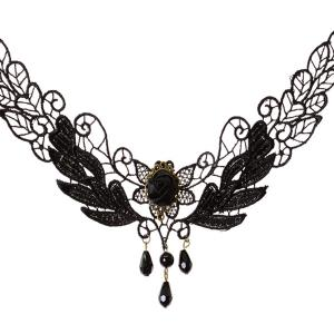 Stylish Cut Out Black Lace Teardrop Faux Pearl Necklace For Women -