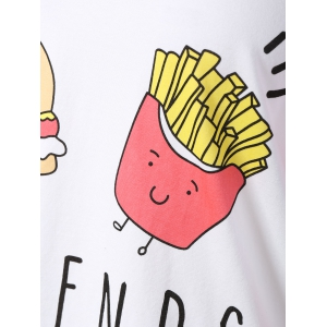 Stylish Scoop Neck Raglan Sleeve Hamburger Print Women's T-Shirt -
