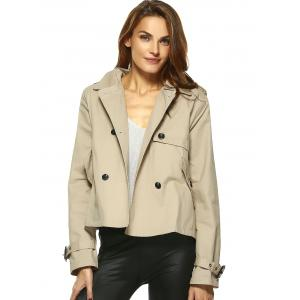 Vintage Double-Breasted Turn Down Collar Loose Trench Jacket -