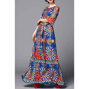 Colorful Geometric Evening Dress -