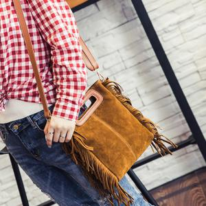 Stylish Faux Suede and Fringe Design Crossbody Bag For Women -