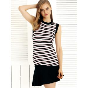 Fashionable Striped Fishtail Splicing Dress -