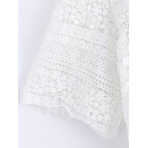 Lace Tie Crochet Short Sleeves Blouse -