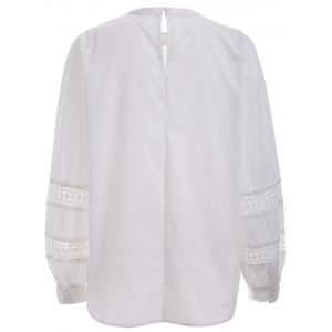 Brief Women's Crochet White Puff Sleeves Blouse -
