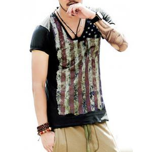 Round Neck Vintage Star and Stripe Print Short Sleeve T-Shirt For Men - DEEP GRAY 2XL