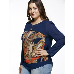 Oversized Chic Long Sleeve Abstract Print Blouse -