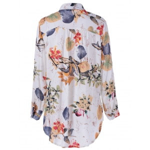 Tropical Print Long Sleeves Loose Shirt -