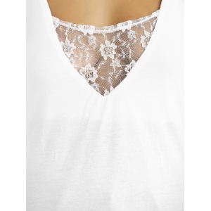 Plunge Neck Lace Insert Open Back Tank Top -