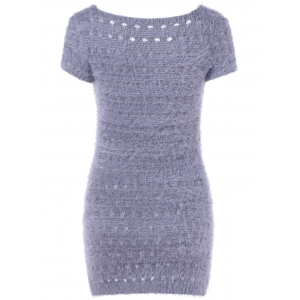 Simple Design Women's V-Neck Hollow Out Short Sleeves Sweater Dress -