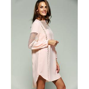 Bohemian Crochet Trim Lantern Sleeve Asymmetric Dress -