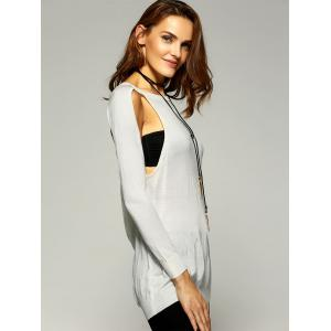 Vintage Long Sleeve Cut Out Pure Color Sweater -
