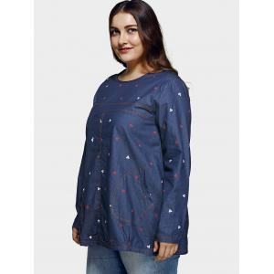 Plus Size Casual Square Pattern Denim Blouse -