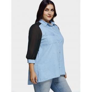 Plus Size Chiffon Sleeve Long Denim Tunic Shirt -