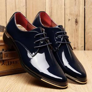 Fashion Patent Leather and Tie Up Design Formal Shoes For Men - BLACK 44