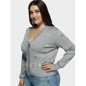 Plus Size Casual Embroidery Single Breasted Cardigan - LIGHT GRAY 4XL