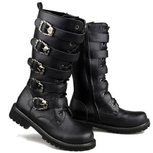 Trendy Black and Buckles Design Boots For Men - BLACK 43