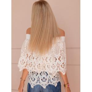 Stylish White Off-The-Shoulder Cut Out Lace Blouse -