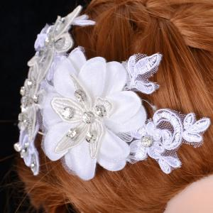 Graceful Floral Wedding Jewelry Hairband For Women - WHITE