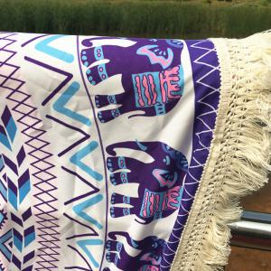 Elephant Motif long Fringe Plage Round Throw - Pourpre