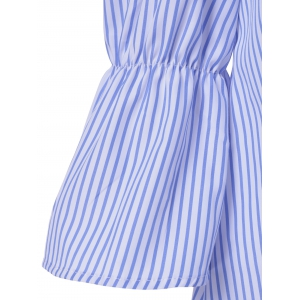Off The Shoulder Striped Tie Ruffles Sleeves Blouse -