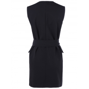 Pocket Design Double-Breasted Belted Waistcoat -