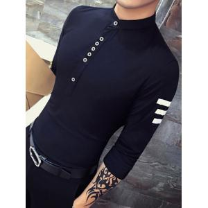 Buttons Design Turn-Down Collar Long Sleeve Side Striped Shirt For Men -
