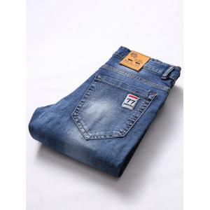 Appliques Patch and Holes Design Zipper Fly Narrow Feet Jeans For Men -
