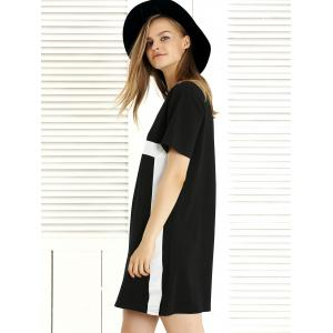 Chic Round Neck Color Block Women's Dress -