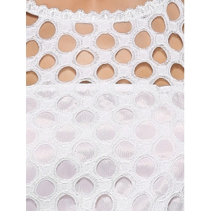 Sweet Lacework Pure Color See-Through Dress With Belt -