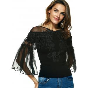 Graceful Women's Bell Sleeves Embroidered Mesh Spliced Blouse -