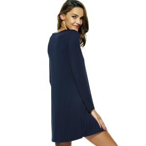 Solid Color Long Sleeve Flare Dress -