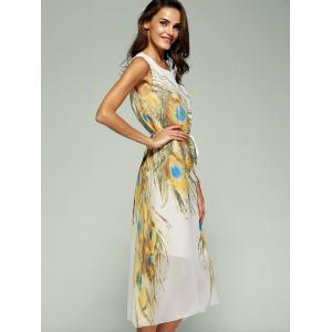 Attractive Women's Printed Sleeveless Chiffon Dress -
