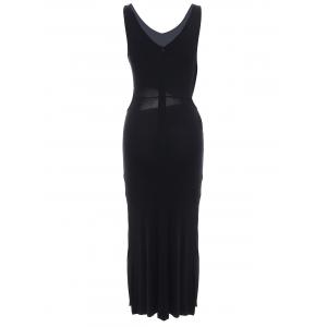 Chic Women's Hollow Out Side Slit Black Dress -