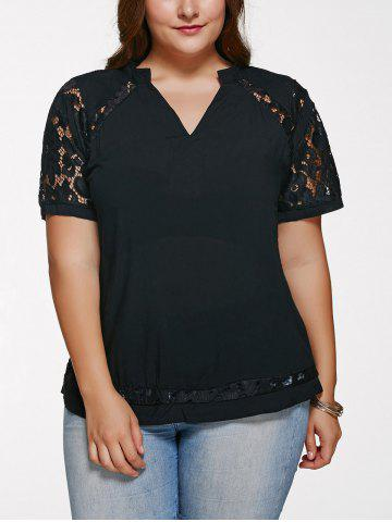 Best Chic V Neck Lace Splicing Plus Size T-Shirt