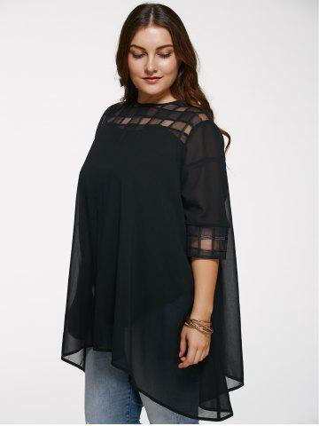 Best Chic 3/4 Sleeve See-Through Plus Size Blouse - 5XL BLACK Mobile