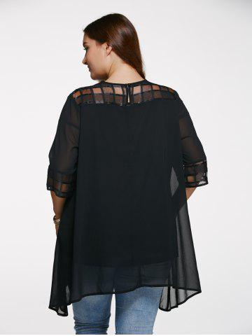 Shops Chic 3/4 Sleeve See-Through Plus Size Blouse - 5XL BLACK Mobile