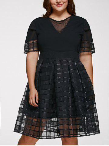 Sale Chic Short Sleeve Plus Size See-Through Dress