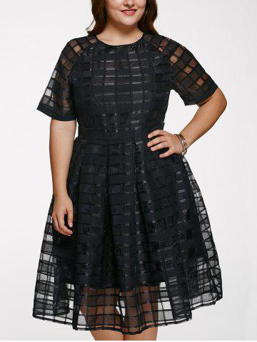 Discount Chic Round Neck Plus Size See-Through Dress