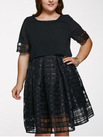 Sale Scoop Neck Plus Size Ball Gown See-Through Dress BLACK 5XL