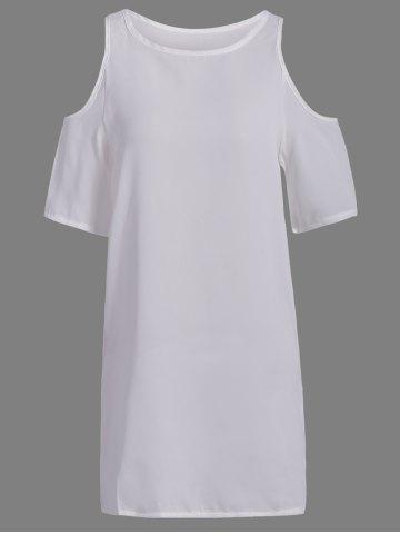 Buy Brief Style Round Neck Short Sleeve Hollow Out Chiffon White Dress For Women