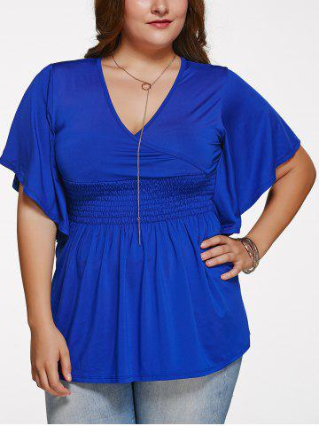 Buy Stylish Plus Size Solid Color V Neck Blouse