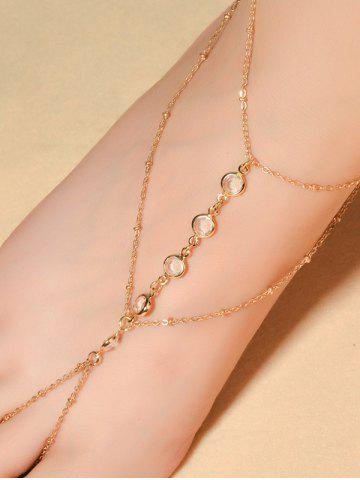Affordable Faux Crystal Beads Toe Ring Anklet GOLDEN