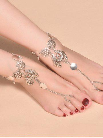 Fancy Vintage Water Drop Sequins Toe Ring Anklet - SILVER  Mobile