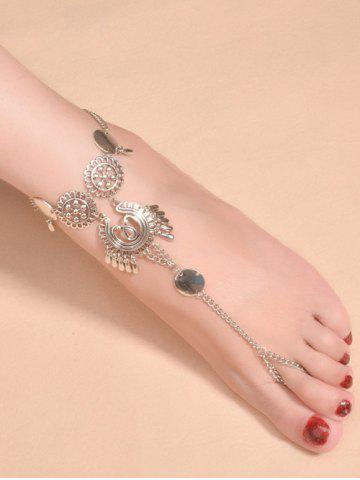 Affordable Vintage Water Drop Sequins Toe Ring Anklet - SILVER  Mobile