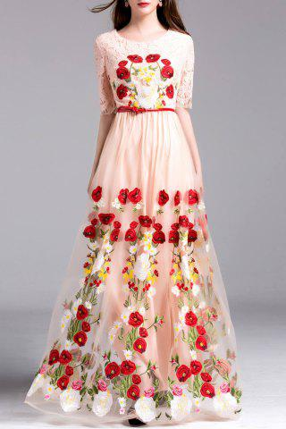 New Embroidery Lace Insert Maxi Tulle Dress