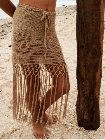 Store Alluring Hollow Out Fringed Crochet Cover Up Skirt